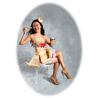Mary Bowers shows upper crust style, dressed as Cheery, Cherry Pie