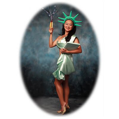Competitive eater, Mary Bowers is the All-American girl, posed as Lady Liberty